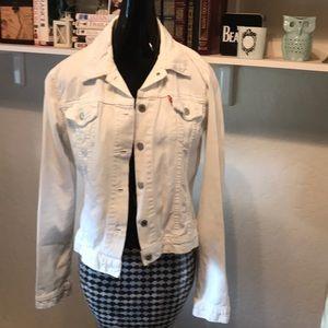 Vintage distressed Levis white trucker jean jacket